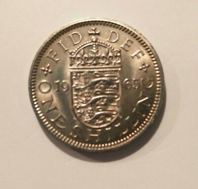 1965 English One Shilling Coin Uncirculated Condition