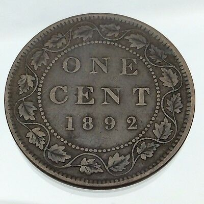 1892 Canada One 1 Cent Penny Large Copper Circulated Canadian Coin B758