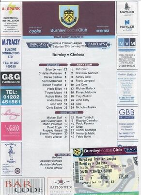Burnley v Chelsea (TEAMSHEET & TICKET only) - 30/01/2010