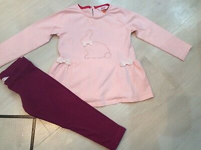 Girls Designer Ted Baker Outfit Peplum Top And Leggings Age 2/3 Years