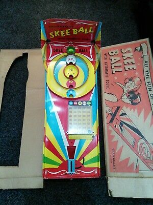 Vintage Retro Chad Valley Skee Ball 1950/1960 metal bagatelle pinball game boxed