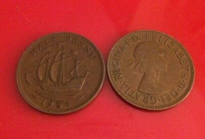 UK Money 2 British HALF-PENNY COINS Queen Elizabeth ll 1954