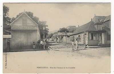 Mauritius Port Louis Street Scene Citadel In Background Old Photo Postcard