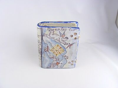 Antique French Faience Book Hand Warmer, Nevers MONTAGNON CHAUFERRETTE