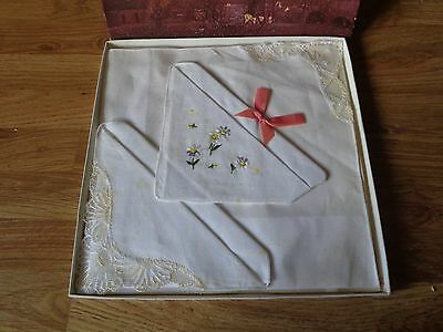 Vintage Box of Three Handkerchiefs