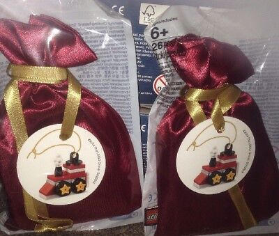 Lego Christmas tree ornament Train in red sack 5002813 Collectible Gift  2 Packs