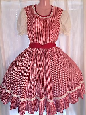 Square Dance 1 Pc Red & White Gingham Dress - Small