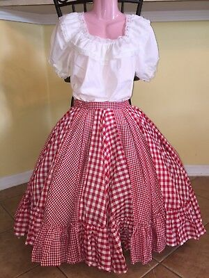 Square Dance Ladies Red & White Gingham Top & Skirt- Small