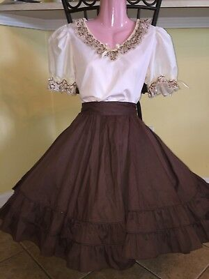 Square Dance Ladies Reduced Ivory & Brown Lace Top & Skirt- Small/ Medium