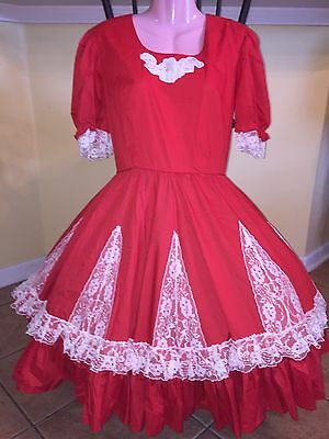 Square Dance 1 Pc Red & White Lace Dress - Small
