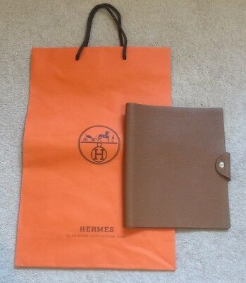 Genuine Hermes Togo Leather Notebook Ulysses Tan/ Brown Medium Size RRP £275