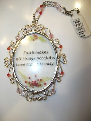 Dainty Glass hanging ornament with beautiful saying ~NWT