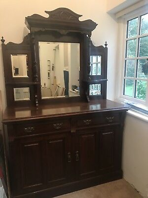 Antique Victorian Chiffonier Mahogany Sideboard Server Cabinet Mirror back