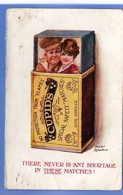 Super 1919 Ww1 Army Soldier Cupid With Sweetheart In Box Of Matches Postcard