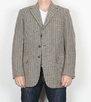 "Dunn & Co Harris Tweed 40"" LONG Medium Jacket Blazer Brown Beige   (85D)"