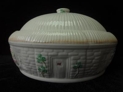 Vintage Belleek Pottery Shamrock Irish Cottage Casserole Covered Dish Green Mark