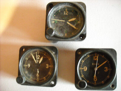 Waltham Aircraft Clocks  8 day! 3 different CLOCKS for parts Green numbers@#$%^&