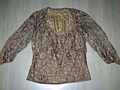 Vintage 20s 30s flattering brown gold lame ruffle collar blouse / top 8 / 10 ish