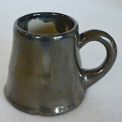 Antique Fulper Pottery Ink Mark Coffee Mug Cup Metallic Drip Glaze Blue Green US