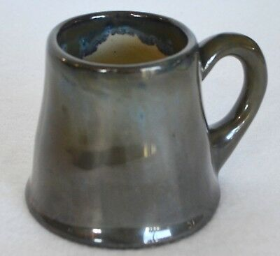 Antique Fulper Pottery Ink Mark Coffee Mug Cup Drip Glaze Blue Green Mirrored