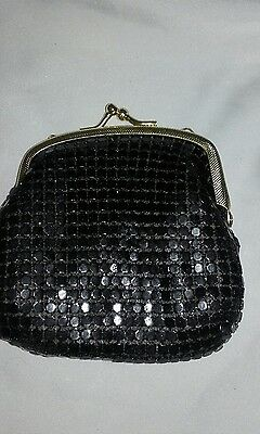 Vintage black chain mail coin purse