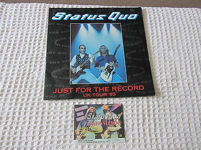 STATUS QUO Just For The Record UK Tour 1993 Programme + added concert ticket