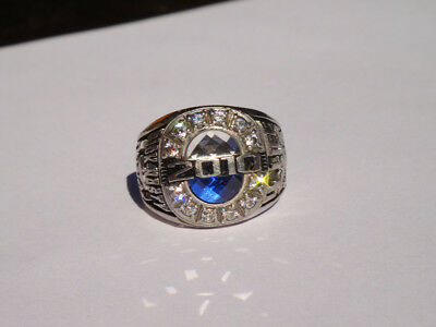 Class of 2010 JOSTENS LTM blue white STONE school RING SIZE9 marine dance N/R