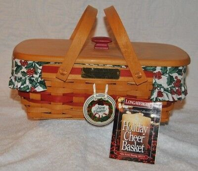 Longaberger 1996 Red Christmas Holiday Cheer Basket Holly Liner Protector & Lid