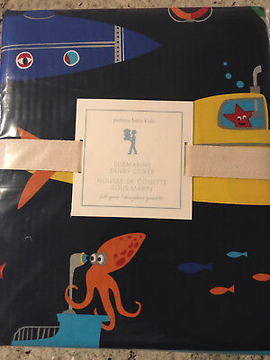 Pottery Barn Kids Submarine Full/Queen F/Q Duvet Cover NEW Navy Blue Under Sea