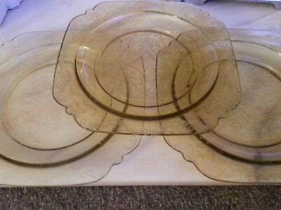 """Federal Madrid Amber Yellow  Set Of 3 Luncheon Dinner Plate 9"""" Depression Glass"""