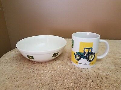 "JOHN DEERE**COFFEE CUP/MUG & BOWL""Nothing Runs Like A Deere!—BY GIBSON"