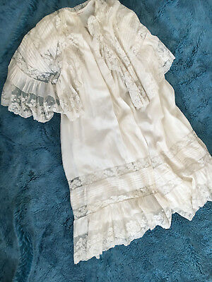 """ANTIQUE 19TH C VICTORIAN RUFFLED SILK + LACE CHRISTENING INFANT GOWN l.36"""""""