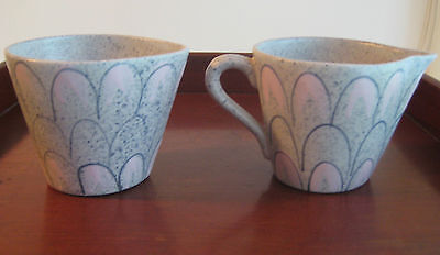 Vintage California Pottery Cream & Sugar C 1950 California Cleminsons