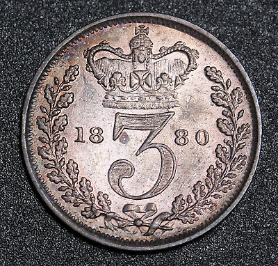 1880 UK Great Britain Sterling Silver Threepence 3 Pence Victoria Coin