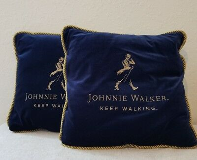 2 Two Johnnie Walker Blue Deluxe Throw Pillows Striding Man