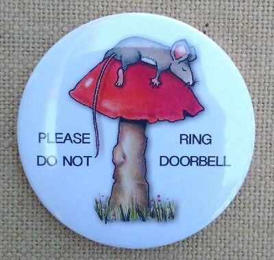 """Magnet, 3.5"""", PLEASE DO NOT RING DOORBELL, Cute Mouse Sleeping on Toadstool"""