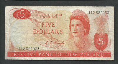 New Zealand 1975-77 5 Dollars P 165c Circulated