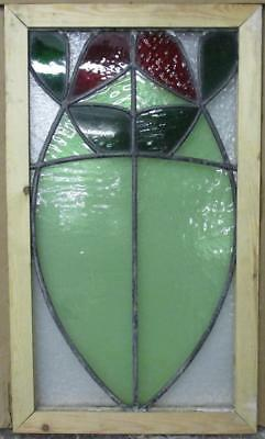 "MID SIZED OLD ENGLISH LEADED STAINED GLASS WINDOW Abstract Floral 14.5"" x 24.75"""