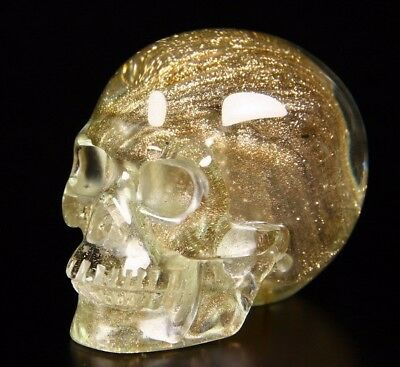 "1.9"" BROWN GOLDSTONE GOOD SAND GOLDSAND Carved Crystal Skull, Realistic, Healing"