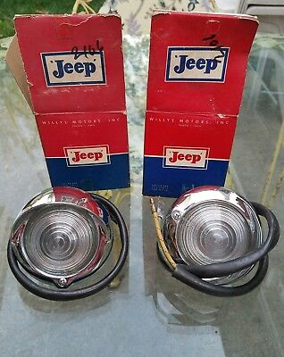 NOS Vintage Willys Jeep Kaiser Glass Parking lights with Bezels housings