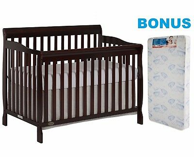Convertible Crib with BONUS Mattress 5-in-1 Bed Baby Furniture Nursery Bedroom