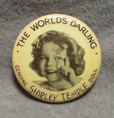 Vintage Original Ideal Shirley Temple Doll Button Pin Pinback - 1930s
