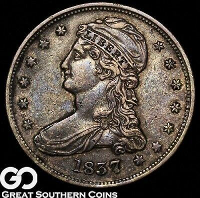 1837 Capped Bust Half Dollar, REEDED EDGE, Scarce Type