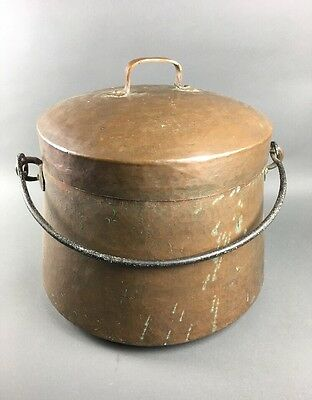 Large Antique Hand Hammered Copper Cauldron Kettle Jelly Pot w/ Lid