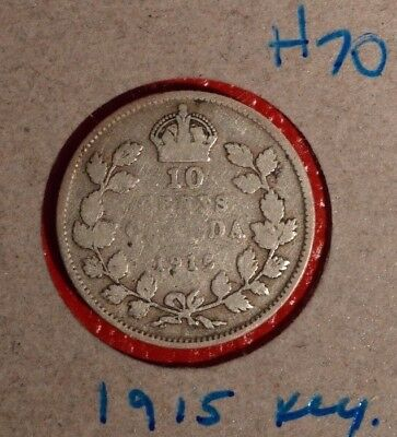 Canada 1915 SILVER  10 CENT - Great coin book filler - Nice readable date H-70