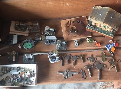 Old Used Vintage Antique Coo Coo Clock Parts Movements Keys Restoration.
