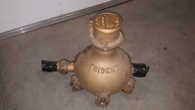 "Vintage Brass Neptune Trident 1"" Water Meter - Free Shipping"