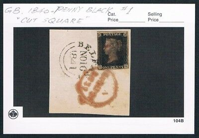 1840 GB #1 Penny Black (cut square),The first stamp in the world,very nice!