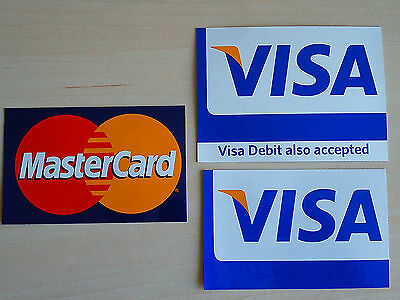 "Lot of 3 *NEW* VISA Debit MASTERCARD stickers 4""1/8 x 2 5/8"" and 4""1/4 x 3""1/8"