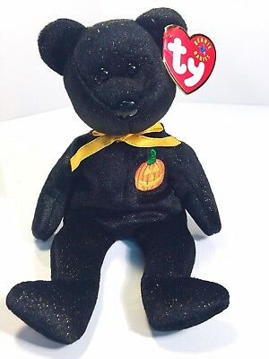 Ty Beanie Baby Haunt Bear Halloween 2000 Plush Stuffed Animal Black Pumpkin 8""